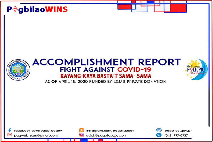 Accomplishment Report - Fight Against COVID-19 as of April 15, 2020